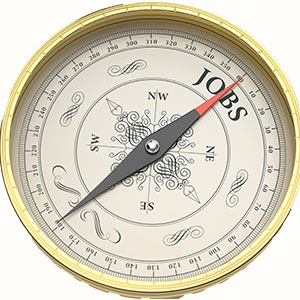 A compass with the word jobs on it