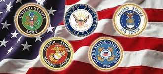 Symbols of the armed forces on an American flag
