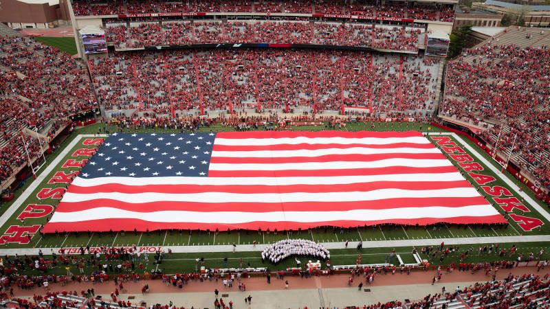 Giant American flag at a Husker game